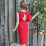 Summer Red Knee-Length Pencil Party Dress (S-L)
