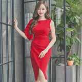Summer Red Knee-Length Pencil Party Dress (S-L) - little-darling-fashion-online