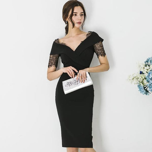 Summer Lace Black Knee-Length Party Dress (S-XL) - little-darling-fashion-online