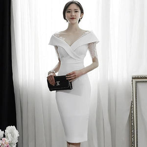 Summer White Sheath Pencil Party Dress (S-XL) - little-darling-fashion-online