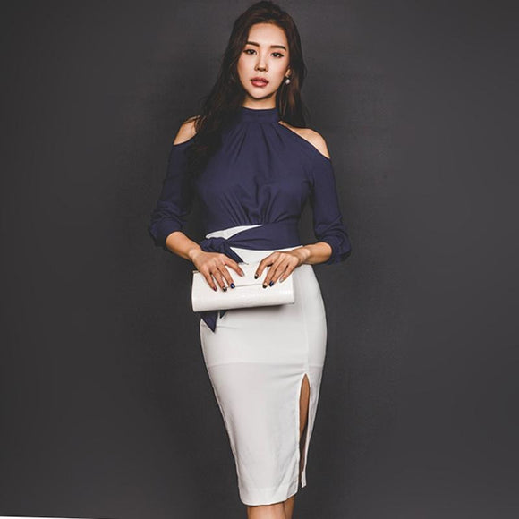 2018 Summer OL Bowknot Navy Backless Sexy Short T-Shirt Midi Bodycon Pencil Skirt Two Piece Sets Office Work Suit Dress