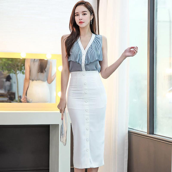 2018 Summer OL V-Neck Wrink Chiffon Blouse Shirt Bodycon Button Midi Pencil Skirt 2 Piece Sets Work Suit Dress