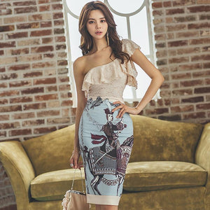 2018 Summer One-Shoulder Solid Lace Blouse Two Piece Sets Print Midi Bodycon Skirt Sexy Vintage Party Suit Dress