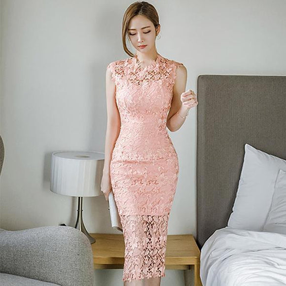Summer Pink Lace Pencil Party Dress (S-XL) - little-darling-fashion-online