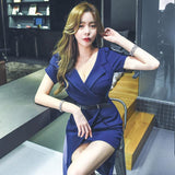 Summer Puff Sleeve Blue Irregular Hem Office Dress (S-XL)