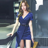 Summer Puff Sleeve Blue Irregular Hem Office Dress by Pick a Product