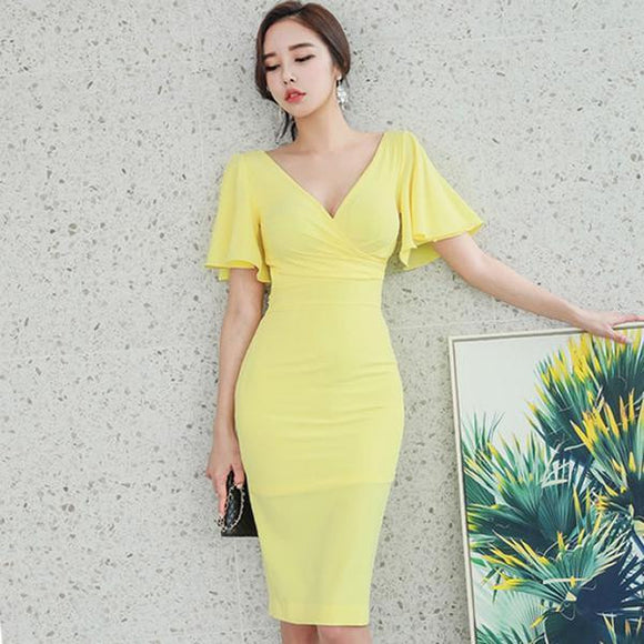 Summer Yellow V-Neck Party Dress with Flare Sleeves (S-XL) - little-darling-fashion-online