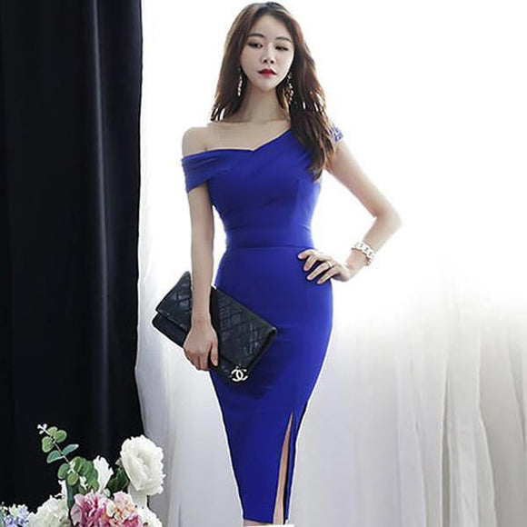 Summer Slope Shoulder Blue Party Dress (S-XL) - little-darling-fashion-online