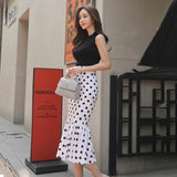 2018 Summer Sleeveless Brief Black Knitted Top Dot Print Midi Bodycon Skirt Two Piece Sexy Sets Fishtail Suit Dress