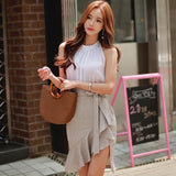 2018 Summer Sleeveless Halter White Blouse Top Mini Bodycon Fishtail Skirt Two Piece Sets Casual Work Suit Dress - little-darling-fashion-online