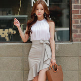 2018 Summer Sleeveless Halter White Blouse Top Mini Bodycon Fishtail Skirt Two Piece Sets Casual Work Suit Dress