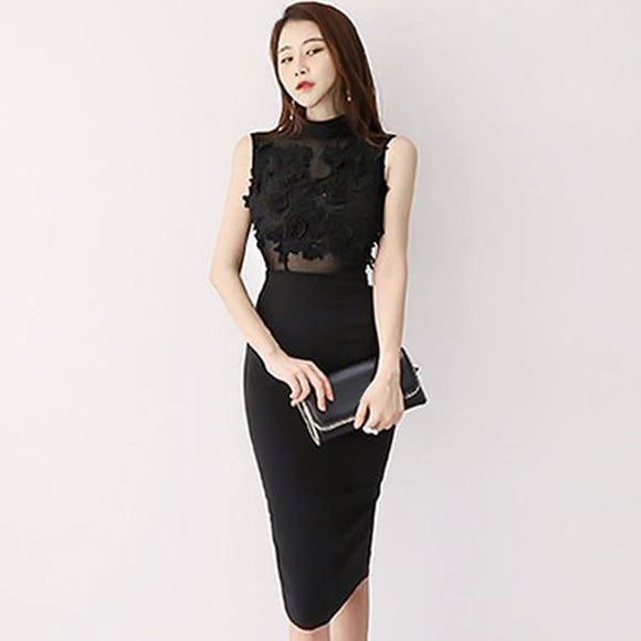 Summer Black Sleeveless Mesh Patchwork Party Dress by Pick a Product
