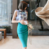 Summer Chiffon Print Blouse and Pencil Skirt - little-darling-fashion-online