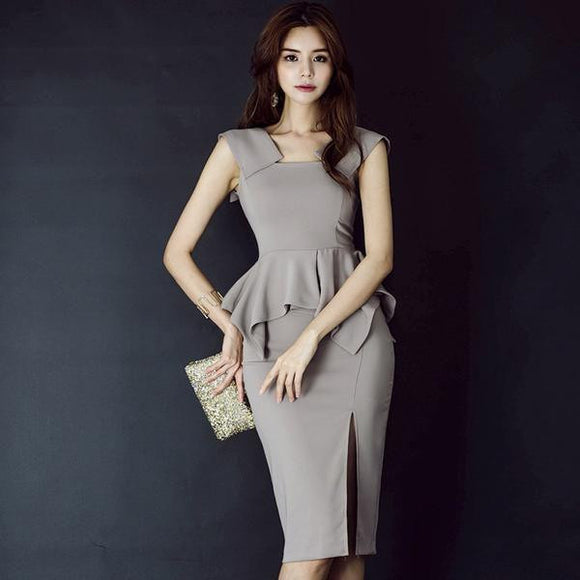 Summer Sleeveless Grey Peplum Office Dress (S-XL) by Pick a Product