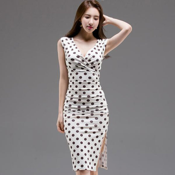 Summer Polka Dot Knee-Length Party Dress (S-L) by Pick a Product