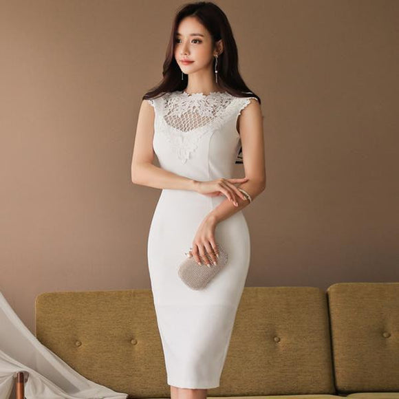 Summer Solid Lace Knee-Length Party Dress (S-XL) - little-darling-fashion-online