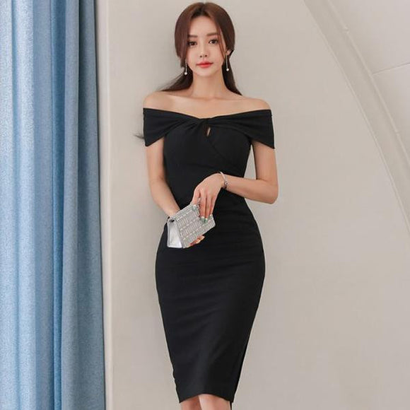 Summer Black Strapless Slash Neck Office Dress by Pick a Product