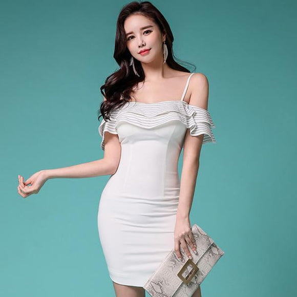 Summer Ruffles Strap Off the Shoulder Party Dress by Pick a Product