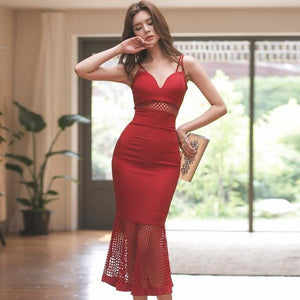 Summer Vestidos Knee-Length Fishtail Red Party Dress (S-XL) - little-darling-fashion-online