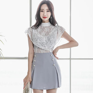 White Lace Blouse + Mini Bodycon Skirt by Pick a Product