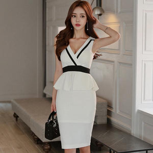 Summer V-Neck Peplum Knee-Length Party Dress (S-XL) - little-darling-fashion-online