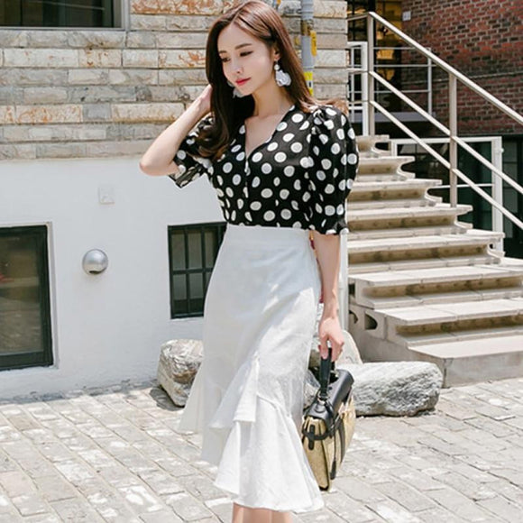 Vintage Polka Dot Blouse + Irregular White Skirt by Pick a Product