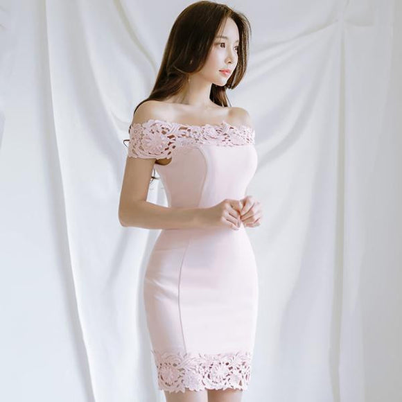 2018 Summer Slash Neck Pink Party Dress by Pick a Product