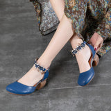 2018 VALLU Summer Women Block Heel Leather Pumps by Pick a Product