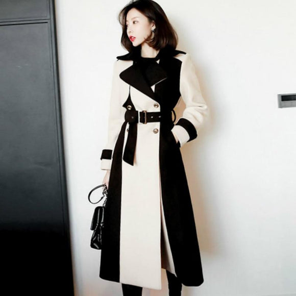 2018 Winter Long Outer Color Patchwork Mid-Calf Woolen Wind Coat