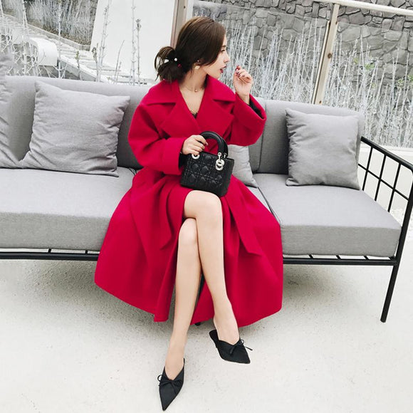 2018 Winter New Fashion Women Pure Color Woolen Coat Turn-down Collar Sashes Slim Skirt Trench Thicken Warm Outwear Overcoat