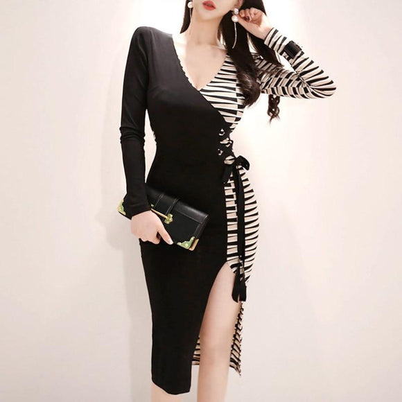 Striped Split Knee-Length Women V-Neck Party Dress