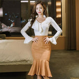 Winter V-Neck Ruffles White Blouse + Bodycon Skirt by Pick a Product
