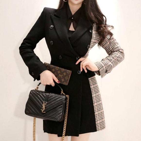 2018 Winter Woolen Plaid Vintage Work Office Thick Coat