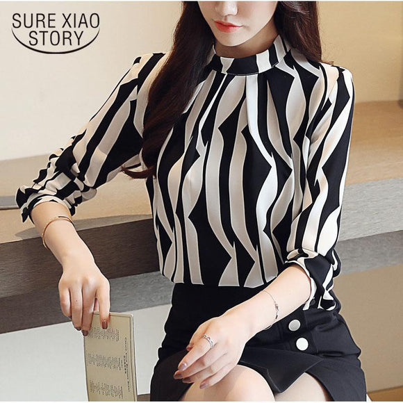 2018 Women's Fashion Long Sleeved Printed Blouse - little-darling-fashion-online
