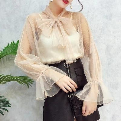 2018 new fashion women shirts transparent mesh blouse bowtie collar flare sleeve 2pcs sexy summer top femme blusa chemise - little-darling-fashion-online