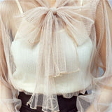 2018 new fashion women shirts transparent mesh blouse bowtie collar flare sleeve 2pcs sexy summer top femme blusa chemise