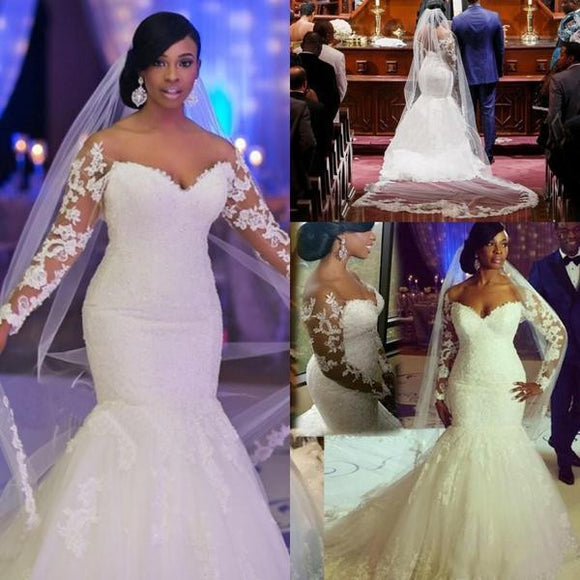 2018 Nigerian Mermaid Wedding Dresses Off The Shoulder Long Sleeves Appliques Lace Backless Sweep Train Bridal Gowns Custom Made - little-darling-fashion-online