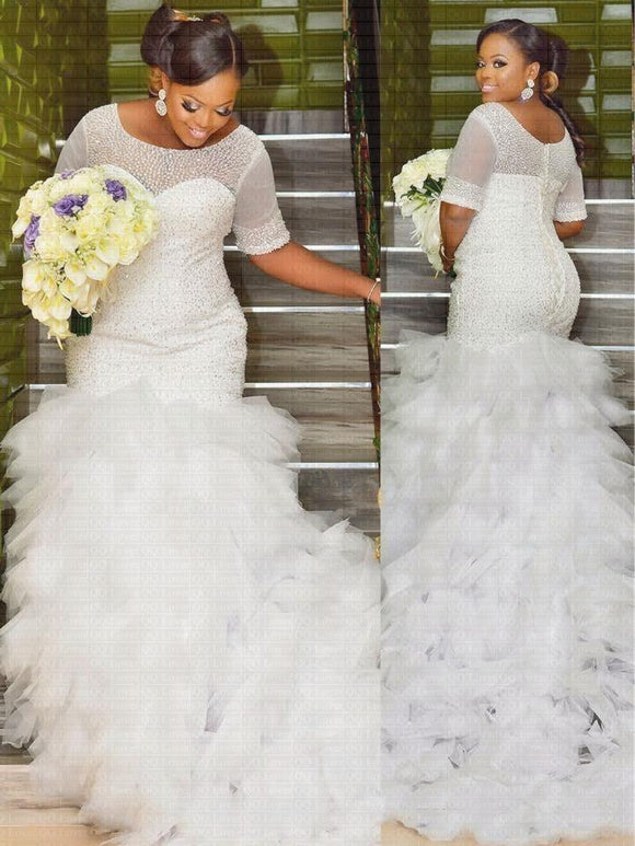 African Luxury Short Sleeve Mermaid Wedding Dress - little-darling-fashion-online