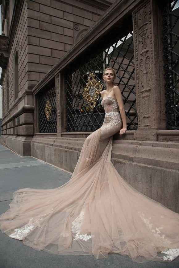 2019 Champagne Mermaid Wedding Dress by Pick a Product