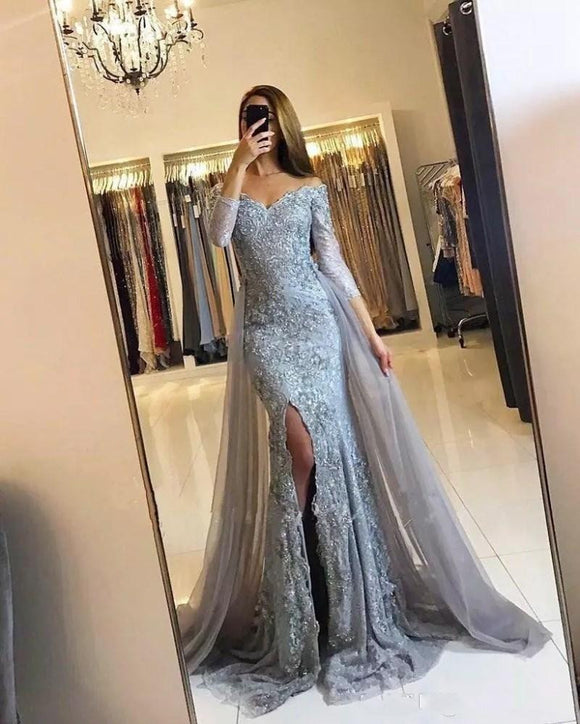 2019 Gray Muslim Evening Dresses Mermaid 3/4 Sleeves - little-darling-fashion-online