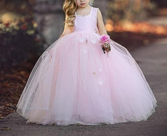 2019 Pink Tulle Tutu Ball Gown Flower Girl Dresses - little-darling-fashion-online