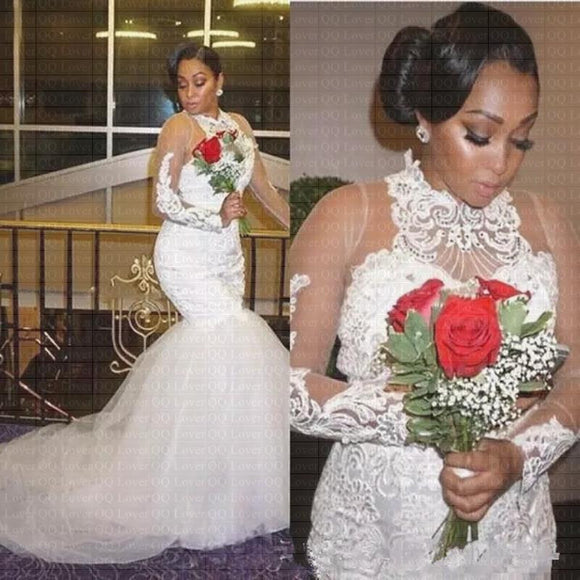 African Long Gorgeous Mermaid Wedding Dress - little-darling-fashion-online
