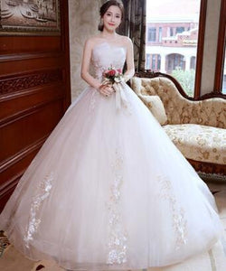 Princess Luxury Lace Long Train Wedding Dress - little-darling-fashion-online