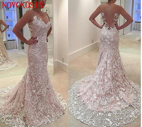 2019 Lace Chapel Train Mermaid Wedding Gowns - little-darling-fashion-online