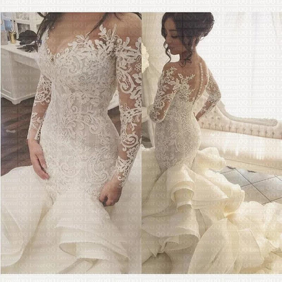 Sheer Neck Vintage Mermaid Wedding Dress