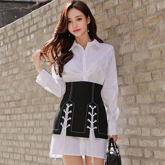 2019 Spring Full Sleeve White Shirt Mini Skirt Two Piece Work Suit