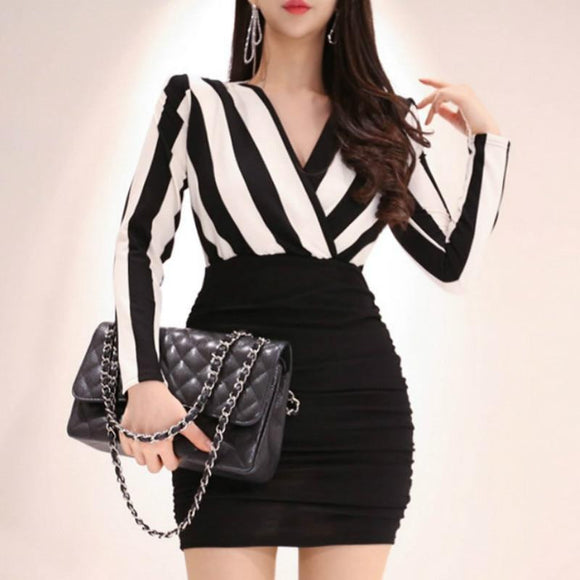 2019 Spring V-Neck Striped Long Sleeve Party Dress