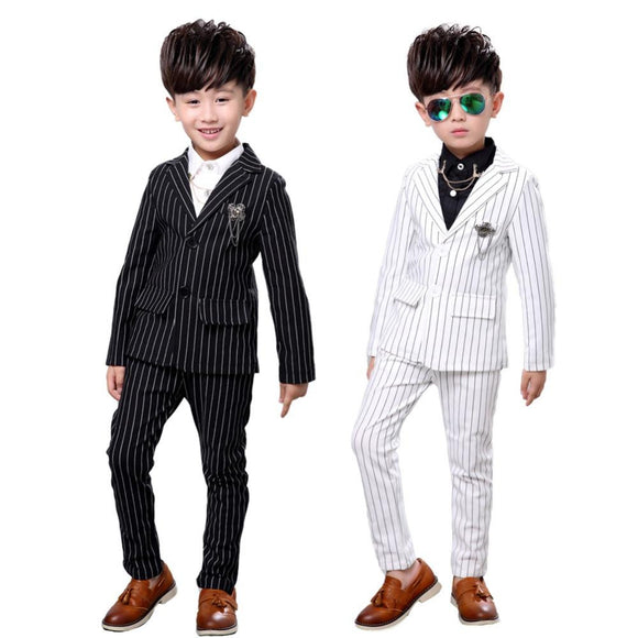 2Pcs Kids Boys Stripe White Black Formal Suits - little-darling-fashion-online