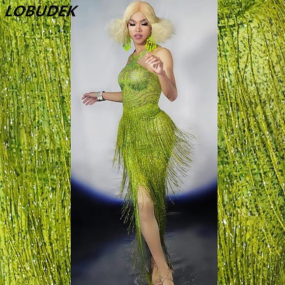 3D Printed Grass Green Tassels Crystals Long Dress by Pick a Product