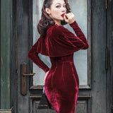 le palais vintage 50s velvet wiggle pencil dress in burgundy - little-darling-fashion-online
